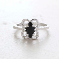 Vintage Jewelry Marquise Cut Jet Black Crystal Cocktail Ring in 18k White Gold Electroplate Made in the USA