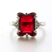 Copy of Vintage Ring Emerald Cut Ruby Cz 18kt Gold Plated Ring Made in the USA July Birthstone