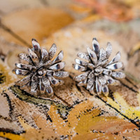 Vintage Oscar de la Renta Clip Earrings Silver Tone Flower