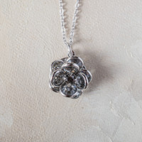 Vintage Flower Pendant Smokey Crystals 18k White Gold Electroplated