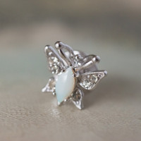 Vintage Butterfly Pin Genuine Opal 18k White Gold Electroplated