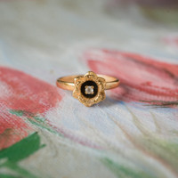 Vintage Flower Ring 18k Yellow Antique Gold Electroplated