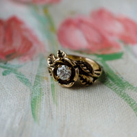 Vintage 1980's Flower Ring Cubic Zirconia Antiqued 18k Yellow Gold Electroplated