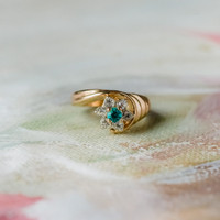 Vintage 1980's Ring Pinfire Opal Zircon Swarovski Crystal 18k Gold Electroplated Made in USA