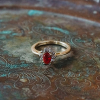 Vintage Ring Ruby and Clear Swarovski Crystals 18kt Yellow Gold Plated Band