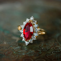 Vintage Ruby and Clear Swarovski Crystals 18k Yellow Gold Plated July Birthstone Made in USA