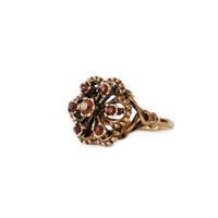 Vintage Citrine Swarovski Crystals Filigree Style Antiqued 18k Yellow Gold Electroplated Ring Made In USA