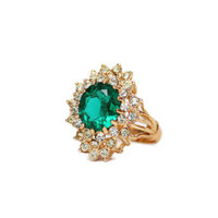 Vintage Emerald and Clear Swarovski Crystal Cocktail Ring 18k Yellow Gold Electroplated May Birthstone Made in USA