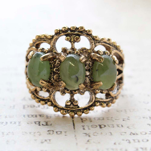 Vintage Jewelry Genuine Jade Cabochon Stones Cocktail Ring in 18kt Yellow Gold Electroplate Made in the USA