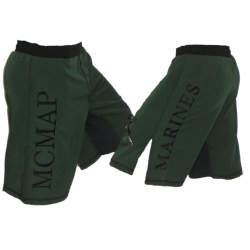 Marine Corps MCMAP Fight Shorts OD Green and Black Trim