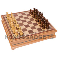Alamo Chess in Light Wood Lift-up Cabinet with Weighted Indian Pieces