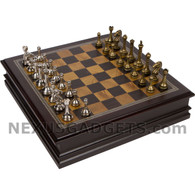 Albion Chess in Wood Cabinet with Metallic Pieces