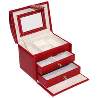 Deosia Red Jewelry Box in Snakeskin Vinyl - Travel Size