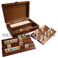Dominion Rummy Mini Travel Set in Double Stripe Wood Case