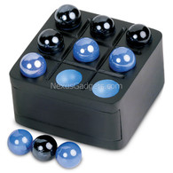 Shamara Tic Tac Toe Wood Box with Marbles - Black/Blue