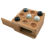 Shamara Tic Tac Toe Wood Box with Marbles - Natural