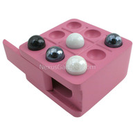 Shamara Tic Tac Toe Wood Box with Marbles - Pink