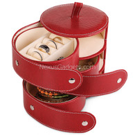 Deosia Jewelry Box in Vinyl - Round Three Compartment - Red