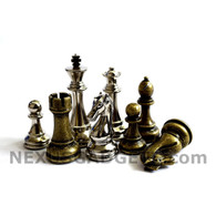Nelo Silver and Bronze Metal Chess Pieces with Extra Queens – Pieces Only – No Board – 3.5 Inch King