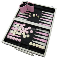 Avian Backgammon in Pink and Cream Vinyl Suitcase - 12 Inch