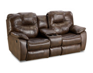 Avalon Custom Reclining Loveseat W/ Console and Power Recline (Leather) (SOU-838-28P-LEATHER)