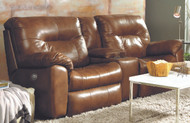 Big Shot Custom Reclining Loveseat W/ Console and Adjustable Headrest (Leather) (SOU-726-78P-LEATHER)