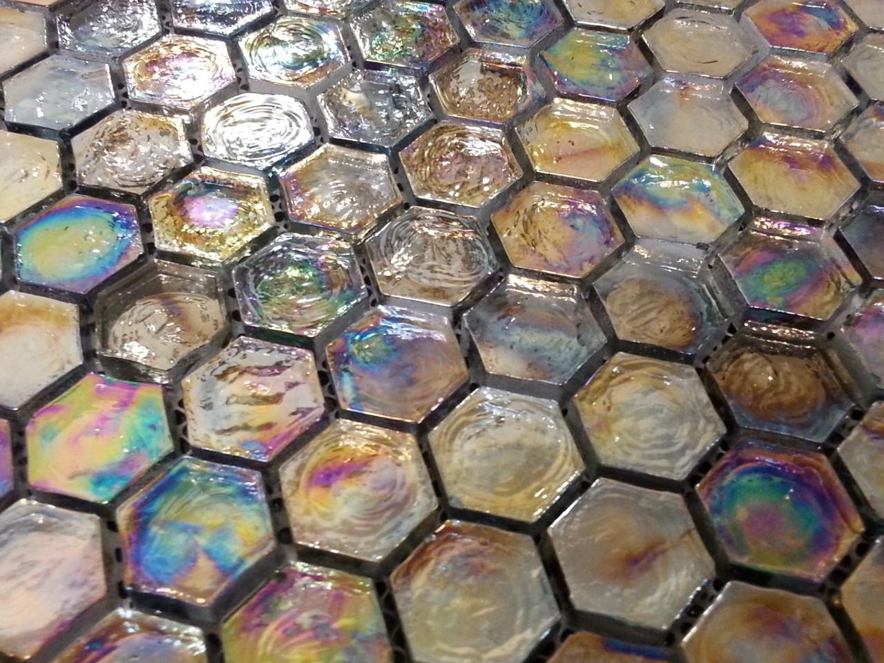 Bgj Black Rainbow Hexagon Glass Mosaic Tiles Exotiles
