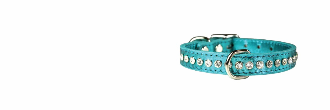Leather and Crystal Dog Collars