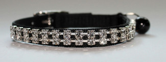 Austrian Crystal Black Nylon Cat Collar
