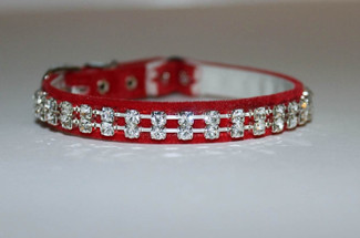 Red Velvet Austrian Crystal Cat Collar