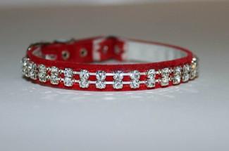 Red Velvet Austrian Crystal Cat Collar