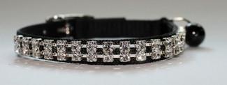 Cat Collar/Black Nylon/2 Row Austrian Crystal