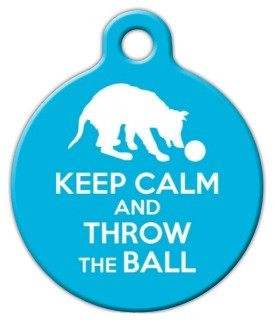 Keep Calm and Throw the Ball Dog ID Tag