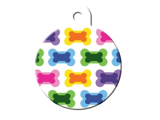 Painted Mulitcolor Bones Cat ID Tag-Dog ID Tag