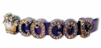 Leather Cat Collars with Rhinestone Letters