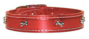 Leather Dog Collars with Silver Bones