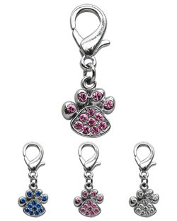 Rhinestone Paw Charm for Pet Collars
