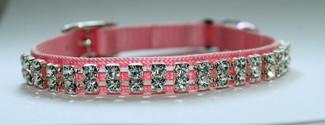 Austrian Crystal on Pink Nylon Cat Collar