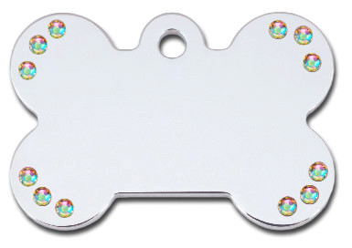 Polished Chrome Bone Dog ID tag with Austrian Crystal Accents will accommodate up to 4 lines of engraving with up to 15 characters (including spaces) per line on both sides.