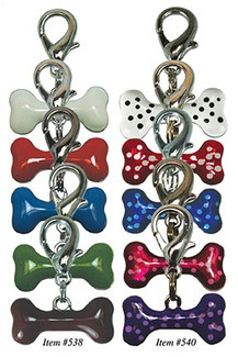 Enamel Bone Charms for Pet Collars