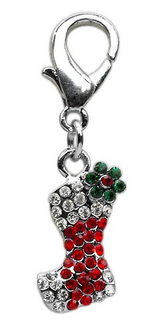 Rhinestone Christmas Stocking Pet Collar Charm