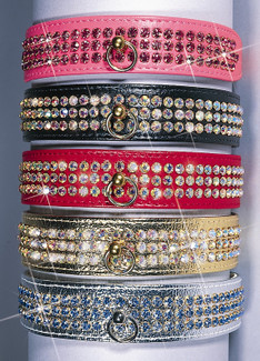 Majestic Rhinestone Vinyl Dog Collar