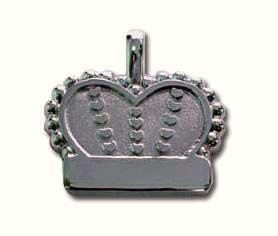 Sterling Silver Crown With Heart Pet ID Tag