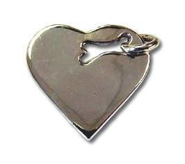 Sterling Silver Heart with Bone Cutout Pet ID Tag