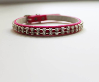 Austrian Crystal & Pink Velvet Cat Collar