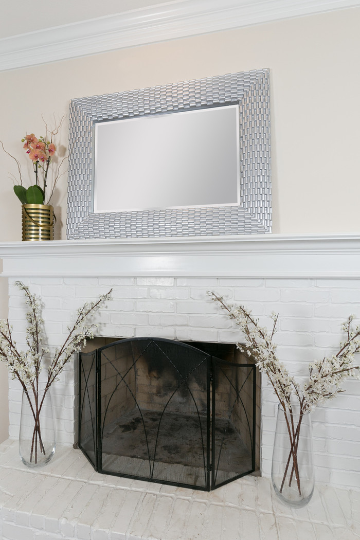 Silver Weave Large Recatngle Wall Mirror