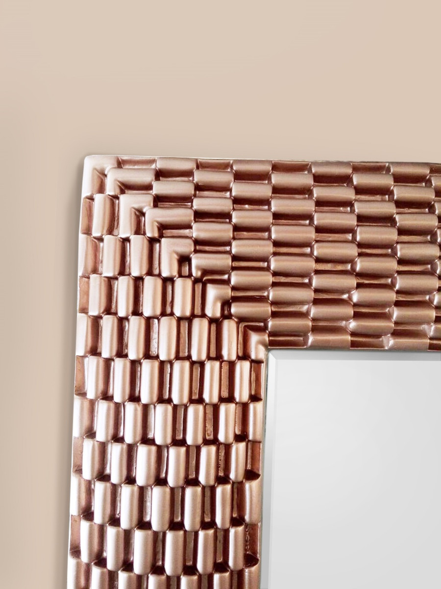 Rose Gold Weave Large Rectangle Wall Mirror