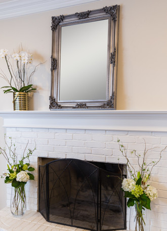 Beaumont Wall Mirror, Antique Silver