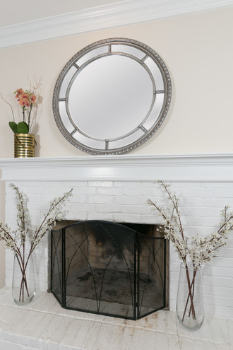 Augusta Circular Mirror, Antique Silver