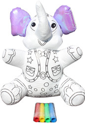 Color Me Pal's DIY Washable and Reusable Coloring Elephant - Child Developmental Plush Toy
